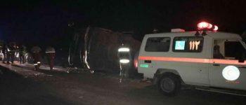 ۳۴ مصدوم ، واژگونی اتوبوس در تربت حیدریه